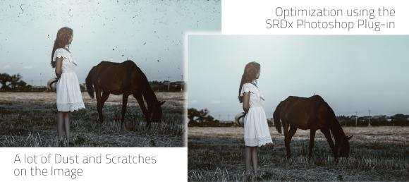 SRDx Photoshop Plug-in Dust and Scratch Removal - Before/After picture