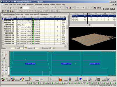 Screenshot des Fertigungsleitrechners UniCAM
