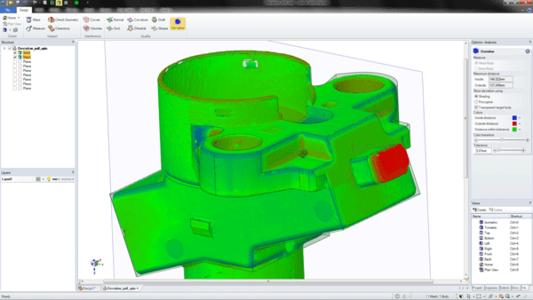 SpaceClaim 2012+ beinhaltet praktische neue Funktionen für den Modellaufbau auf der Basis von Netzdaten, wie etwa die Fähigkeit, einen Solid mit einem Scan zu vergleichen. Diese Technologie ist nützlich, um Modelle aus Scan- und STL-Daten zu erstellen sowie um Scans von hergestellten Teilen mit den Konstruktionsdaten zu vergleichen.