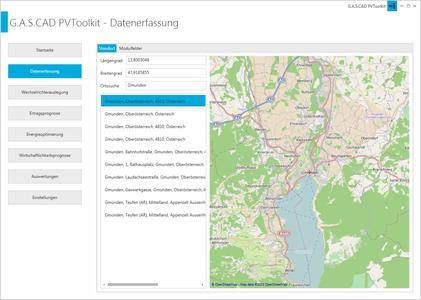 Ortsauswahl Online plan4 PVToolKIT