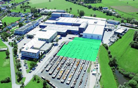 Meusburger company grounds with projected extension building (Photos (Meusburger))