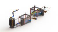 Das Anlagenlayout einer zweistufigen SOMIC-Verpackungslinie in Lino 3D layout. Durch die frei wählbaren und zoombaren Ansichten ist das Zusammenspiel der Tray- und der Wrap-Around-Sammelpacker gut zu erkennen / Bildrechte: © SOMIC Verpackungsmaschinen GmbH & Co. KG