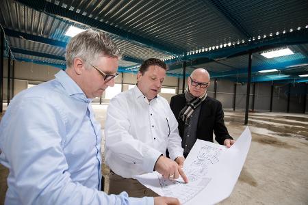 Studio-Anbau in Vreden, v.l.n.r.: Jörg Rewer, Andreas Rosing, Rainer Laudert