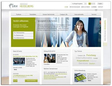 Startseite des Onlineauftritts der SRH Hochschule Heidelberg