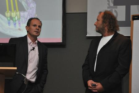 Dr. Steffen Landow und ZTM Achim Müller präsentierten das erfolgreiche Zusammenspiel des Duos Zahnarzt / Zahntechniker in der digitalen Implantologie