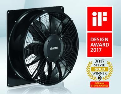 """Der Axialventilator AxiBlade von ebm-papst hat den iF Design Award und die Kampagne dazu wurde als """"Markteinführung des Jahres"""" ausgezeichnet"""