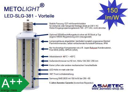 METOLIGHT LED Straßenlampe SLG 381, 180°-Lichtabstrahlung, Vorteile