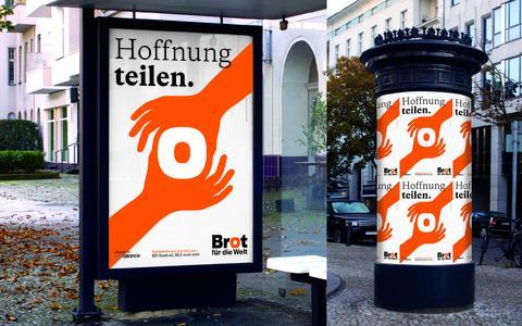 """Gute Botschafter gewinnen Red Dot Design Award mit Plakat """"Hoffnung teilen."""" für Brot für die Welt"""
