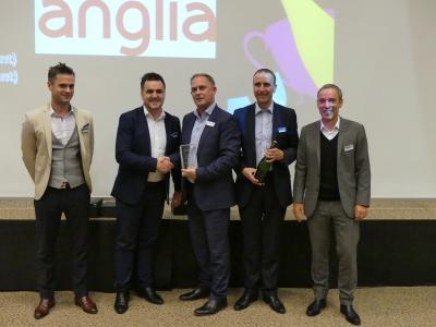 Anglia: Max Jakob (Panasonic), Ian Needham (Panasonic), John Bowman, David Pearson (both Anglia), Rudolf Kammerer (Panasonic) (left to right)