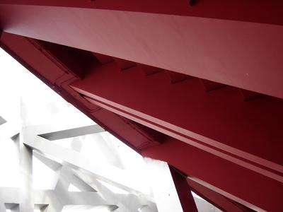 Detail: The undersides of the stands are also in red (Photo: Caparol Farben Lacke Bautenschutz)