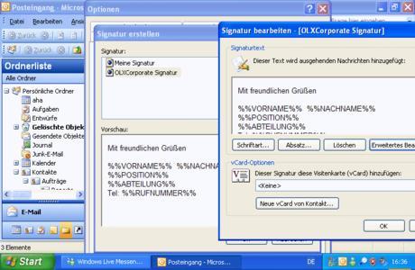Verteilung rechtskonformer, zentral definierter Signaturen, Briefpapiere und Sicherheitseinstellungen mit Outlook©