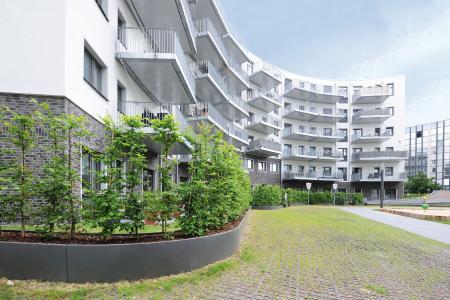 """In Düsseldorf ist aus dem ehemaligen Thyssen Trade Center der Wohnkomplex """"Living Circle"""" entstanden. Seine Konturen sind von runden Formen geprägt."""