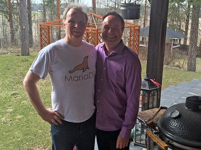 Michael Widenius (left), lead author of the MySQL offshoot MariaDB and Elmar Eperiesi-Beck (right), Managing Director of eperi GmbH. (Copyright: eperi)