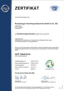 Rosenberger nach neuem Standard IATF 16949:2016 zertifiziert
