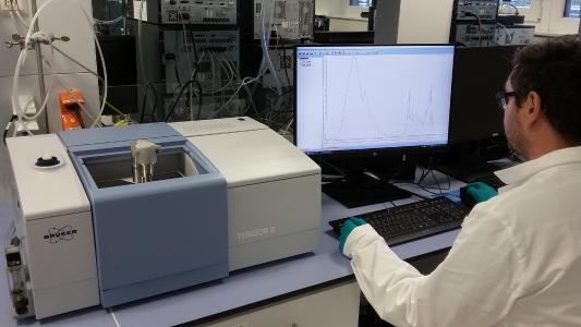 Application specialist with new Brucker Tensor II FT-IR spectrometer