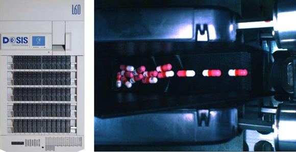 Photo 1: DOSIS front cabinet showing the 60 pill canisters (left) - Pills on ramp inside a canister, photo taken with the Prosilica GC1020C digital camera (right)