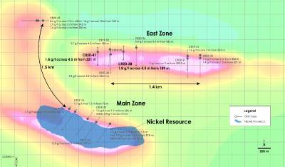 Abbildung 3 – Draufsicht PGM Zone – Darstellung der jüngsten Bohrergebnisse über der magnetischen Gesamtfeldstärke, Crawford Nickel Kobaltsulfid Projekt, Ontario