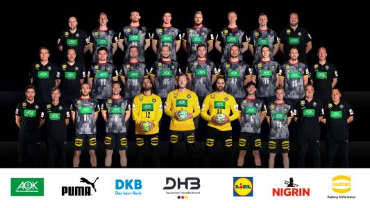 The men's national team of the German Handball Association (DHB) with the distinctive HARTING logo on the trousers