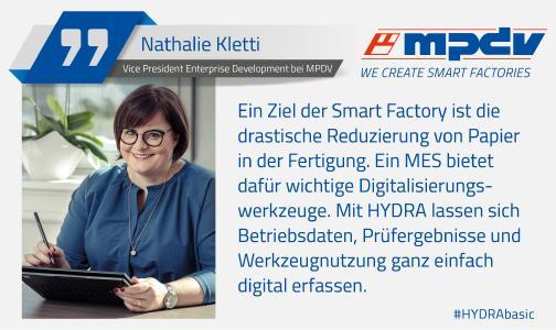 Expertenstatement von Nathalie Kletti, Vice President Enterprise Development bei MPDV, zum Thema Reduzierung von Papier in der Produktion. Bildquelle: MPDV