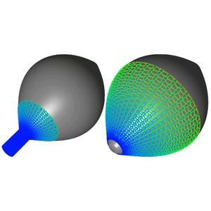 Ein technisches Textil wird auf einen Beispielkörper aufgezogen (links). Die Simulation analysiert, wie sich das Textil streckt und über die Körperoberfläche gleitet (rechts)