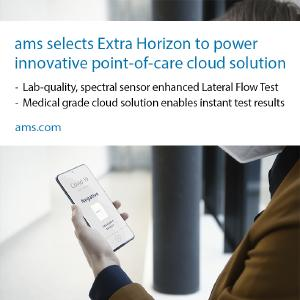 ams selects Extra Horizon to power innovative point-of-care cloud solution for its lab-quality, spectral sensor-enhanced Lateral Flow Test solution to help fight  COVID-19 (SARS-CoV-2) / copyright ams AG