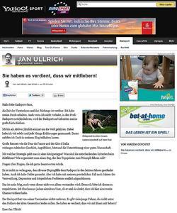 Jan Ullrich, Blog (Foto: Yahoo!)