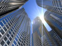 Gebäudeverkabelung Hochhäuser Stockbild