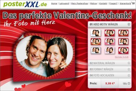 Ein Screenshot von der Valentins-Website von posterXXL.de
