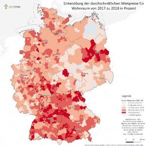 Entwicklung der durchschnittlichen Mietpreise für Wohnraum von 2017 zu 2018 in Prozent