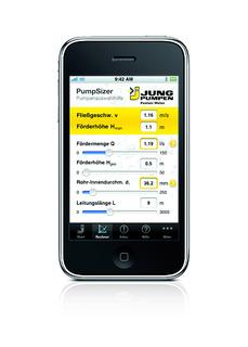 """Wertvolle Applikation für SHK-Profis: iPhone und iPod touch berechnen zukünftig die hydraulischen Kenngrößen einer Schmutzwasserentsorgung mit dem """"PumpSizer"""" von Jung Pumpen, Foto: Jung Pumpen, Steinhagen"""