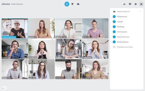 Arbeiten im virtuellen Konferenzraum von alfaview