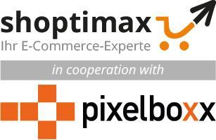 Kooperationslogo shoptimax und Pixelboxx