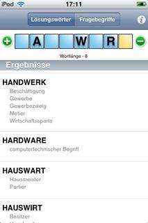 Screenshot: Duden Kreuzworträtsellöser - Suchergebnisse Lösungswörter