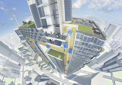 ThyssenKrupp develops the world's first rope-free elevator system to enable the building industry face the challenges of global urbanization (c) ThyssenKrupp