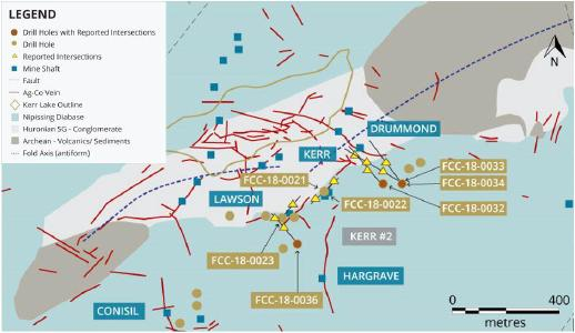 Abbildung 1: Grundgebirgsgeologie und Standort von Bohrstationen im Zielgebiet Kerr # 2 Silber-Kobalt-Erzgänge wurden anhand historischer Karten erstellt, die Standorte sollten daher nicht als exakt erachtet werden