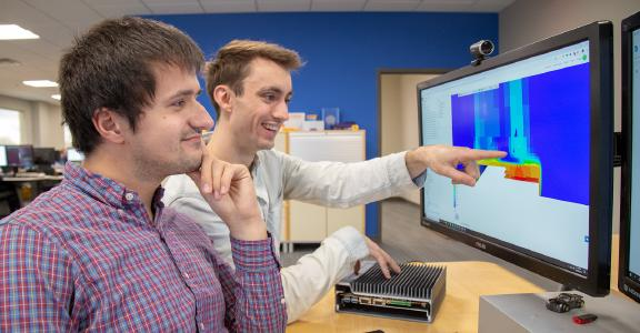 The OnLogic team analyzing its thermal simulation results on SimScale