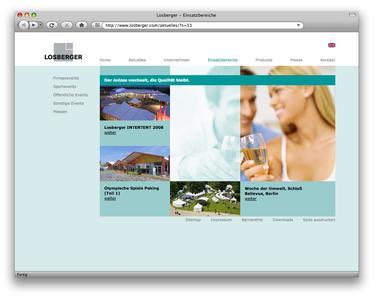 Im neuen, attraktiven Design: Ein Screenshot der neuen Homepage der Losberger GmbH für das Produktsegment Eventzelte und Zelthallen.