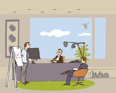 Illustration aus dem Booklet 'Mein Papa arbeitet in der IT- und Telekommunikationsbranche' von Aastra.