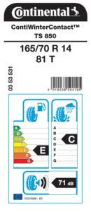 EU Reifenlabelwerte ContiWinterContact TS 850 165 70 R 14 81 T