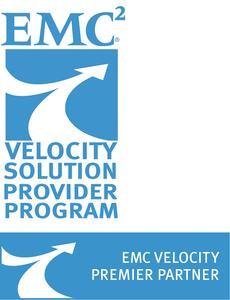 """Logo """"EMC2 Velocity Solution Provider Premier Partner"""""""