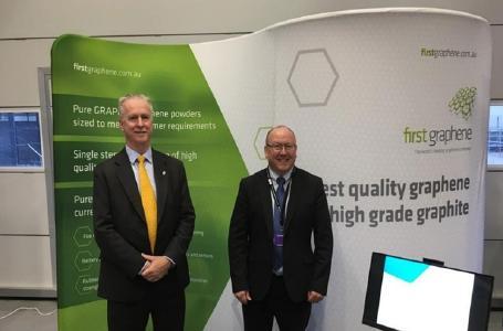 Chairman Warwick Grigor und Marketingleiter Chris McMahon bei der Eröffnunf des GEIC / Foto: First Graphene