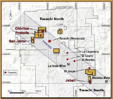 Abbildung 1. Karte der Konzessionen der Tarachi Gold Corp