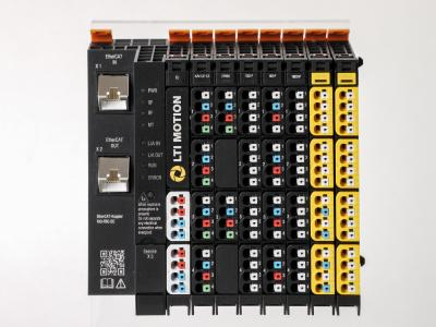 LTI Motion RIO module cluster with  EtherCAT field bus coupler