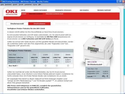 In vier Schritten die passende OKI Printer Flatrate auswählen: Druckerauswahl, Druckvolumen, Flächendeckung, Laufzeit