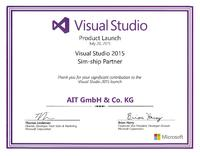 AIT erhält Microsoft Visual Studio 2015 Sim-Ship Award