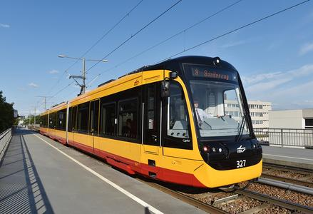 """New light rail vehicles of the type """"Citylink NET 2012"""" on the rails in Karlsruhe"""