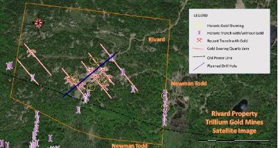 Abbildung 2 Satellitenbild des Grundstücks Rivard mit Gräben, oberflächlichen Goldvorkommen und goldhaltigen Adern