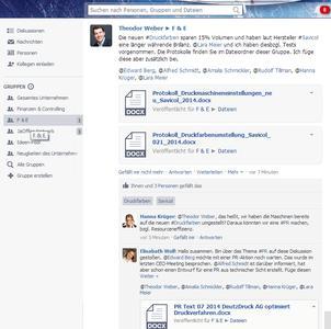 JaOffice Social Intranet Software - Screenshot einer Team-Diskussion in einer Arbeitsgruppe. Direkt im Social Intranet können Mitarbeiter offen (social) miteinander kommunizieren.
