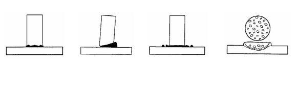 v.l.n.r.: schwach ausgebildeter, ungleichmäßiger Schweißwulst mit matter Oberfläche; Schweißwulst einseitig mit Unterschneidung; Schweißwulst niedrig, Oberfläche glänzend mit starken Spritzern, Bruch in der Schweißung)