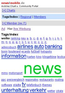 tag cloud for mobile links in news4mobile